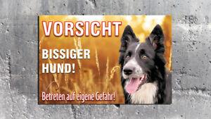 Warnschild - Bissiger Hund - Border Collie Feld - Aldubibond