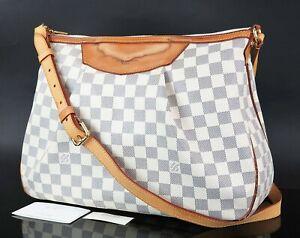 Authentic LOUIS VUITTON Siracusa MM Damier Azur Shoulder Bag Purse #34646