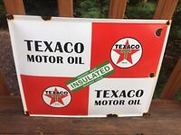 "Vintage Texaco Motor Oil Porcelain Sign Gas & Oil Sign 16""x13"""
