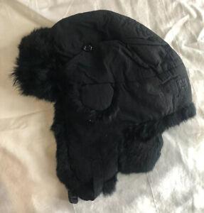 PAUL LOINBURD By CROWNCAP Real Fur Trapper Hat Black/ Black  Sz Large Rabbit