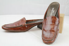 Women's Sesto Meucci Brown Leather Mules Slides Loafer Croc Print Size 6.5 M