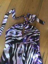 Purple Boho Twiggy Style Maxi Dress Halter-neck M 12/14/16