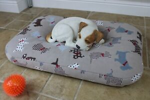 Small Bean Bag Dog Bed, Calming Cushion Pillow Bed, Washable Fleece Nesting Bed.
