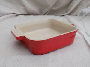 "Poterie 5-1/2"" Square Cerise Red Bakeware Le Creuset Stoneware"