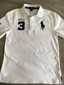 Boys POLO RALPH LAUREN Polo Shirt White Cotton Size M(10-12) Age 10-11 Yrs
