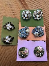 GORGEOUS VINTAGE 1940s - 60s EARRING LOT 4 CHUNKY PAIRS Rhinestones, enamel faux