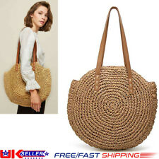 Fashion Beach Straw Woven Bags Summer Rattan Basket Shoulder Bag Round Handbag K
