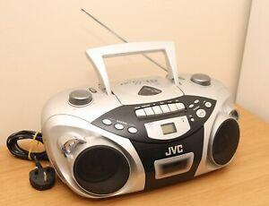 Retro JVC CD Radio CASSETTE Stereo Radio Boombox RC-EX10 Silver Vintage Player