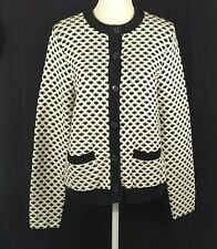 Chaps Button Front Cardigan Black White Pockets NWT Large