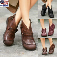 Womens Vintage Flat Ankle Boots Ladies Casual Leather Zipper Boots Shoes Size US