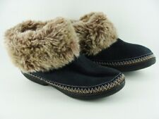 ISOTONER Microsuede Slipper-Boot Choc.Brown w Faux Fur size 9.5/10 w memory foam