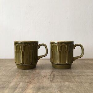 Vintage Biltons Made in Engkand Green Retro Design Mugs Cups x2