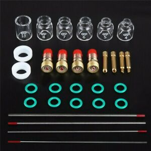 30 Pcs TIG Welding Stubby Gas Lens Pyrex Cup Kit For Tig WP-17/18/26 Torch