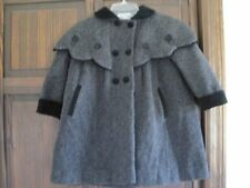 Rothschild 4T black gray wool dress coat Christmas winter cape