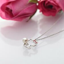 Hello Kitty Silver 925 x Natural Akoya Cultured Glossy Pearl silhouette Necklace