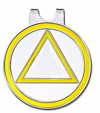 C/T Golf Ball Marker w/ Magnetic Hat Clip Yellow/ WHITE & SILVER - Recovery AA