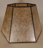 "7"" x 12"" x7 1/2"" Parchment Color Hexagon Style Mica UNO Bridge Floor Lamp Shade"