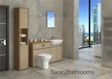 OAK / CAPPUCCINO GLOSS BATHROOM FITTED FURNITURE WITH TALL UNIT 1800MM