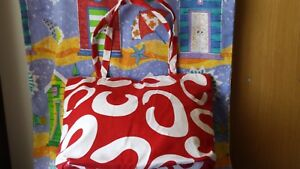 SHOPPING Bag or Tote Bag - RED SWIRL Design,canvas, long handles NEW HUGE👜