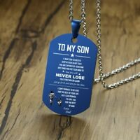 Blue To My Son Love Dad Personalised Dog Tag Necklace Father's Day Birthday Gift