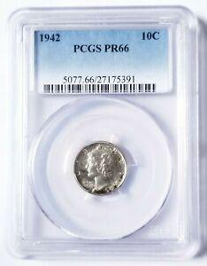 1942-P PCGS PR66 MERCURY DIME BLAST WHITE PROOF BEAUTIFUL NICE COIN!