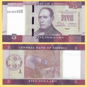 Liberia P31, $5, 5th Pres. Edward J. Roye / woman harvesting rice UNC see w/m
