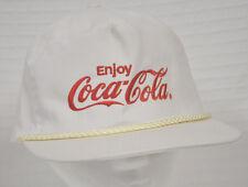 VTG Coca Cola EMBROIDERED White & Red SLIDER Adjustable HAT Cap KC Brand Clean