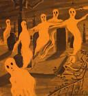 Halloween Ghosts in Graveyard Vintage Art