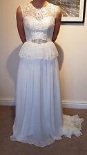 Vintage / Boho Style Peplum Lace Chiffon Wedding Dress Bridal V Back Size 8/10