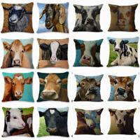"18"" Linen Oil Painting Cow Pillow Case Sofa Car Waist Cushion Cover Home Decor"