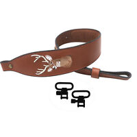 Tourbon Rifle Adjustable Sling Gun Strap 2 Points Genuine Leather w/Swivels Set