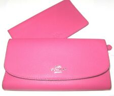 Coach Magenta Pink Pebbled Leather Checkbook Wallet F16613 Authentic NWT $250
