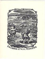 EMIL KOTRBA: Exlibris für J. Th. A. Peskens, Fischer am Strand