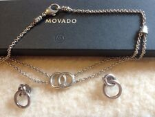 MOVADO heavy sterling silver necklace & earrings interlocking circles set