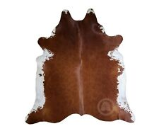 New Brazilian Cowhide Rug Leather BROWN AND WHITE 6'x8' Cow Hide