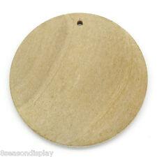 """50 PCs Wood Charm Pendants Round Natural 3cm Dia.(1 1/8"""")"""