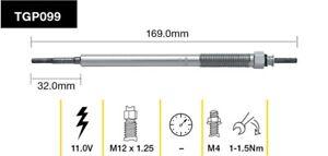 Tridon Glow Plug TGP099 fits Mitsubishi Triton 2.5 Di-D 2WD (ML,MN), 2.5 Di-D...