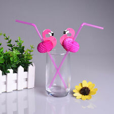 Flamingo on Paper Straws Wedding birthday Decoration Tropical Drinks tea FT