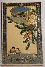 Vintage Christmas Greetings Postcard with Birds and Bird House