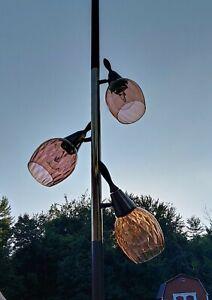 MCM Tension Pole Floor Lamp 3 Glass Lights Mid Century light