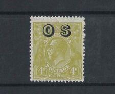 1929 Australia KGV OS Issue 4d yellow-olive Sm. Multi Wmk SG O126 Mlh