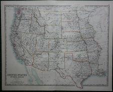 1887 LARGE VICTORIAN MAP ~ UNITED STATES WESTERN SHEET TEXAS CALIFORNIA UTAH etc