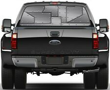 Reveted Silver Metal Rear Window Graphic Decal for Truck SUV Vans