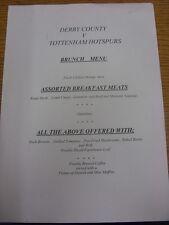 02/02/2002 Derby County v Tottenham Hotspur - Single Sheet Brunch Menu (folded).