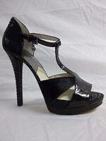 Michael Kors Size 10 M Black Leather Open Toe Heels New Womens Shoes NWOB