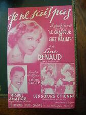 Partition Line Renaud Je ne sais pas Louis Gasté Chasseur de chez Maxim's