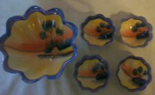 5 HAND PAINTED JAPANESE Lustreware CERAMIC SERVING BOWLS BY HAFIN