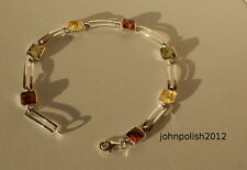 Multicolour Baltic Amber's Squared Bracelet on Silver 925
