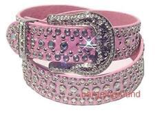 US Seller Womens Western Rhinestone Pink Leather Stud Snap on Buckle Belt M SM