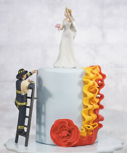 To The Rescue!  Fireman and Bride Cute Funny Wedding Cake Topper